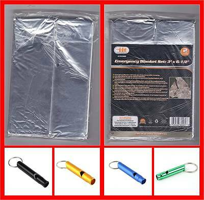 2 Emergency Thermal Aluminum Polyethylene Blanket 36x78 Free Emergency Whistle