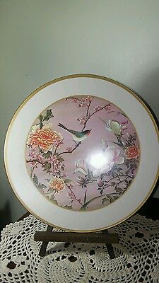 "6 Round Place Mats Pimpernel Acrylic Cork Backs 9 & 7/8"" Birds Flowers Orient"