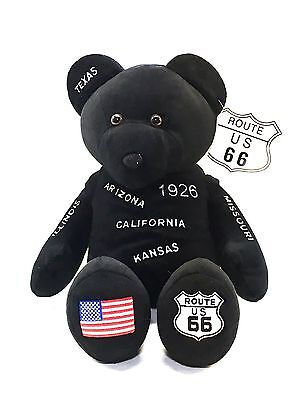 """Cool NWT Collectable Route 66 Black 18"""" Stuffed Plush Teddy Bear -Get Your Kicks"""