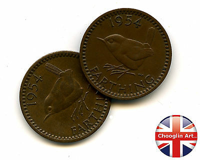 A pair of 1954 British Bronze ELIZABETH II FARTHING Coins