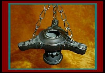 Classic ANTIQUE Bronze ROMAN Grand Tour 3 Font Hanging OIL LAMP with Ornate Base