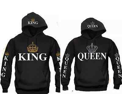 King & Queen Hooded Sweatshirt Couples King & Queen Hoodie Sweatshirt Hood Print