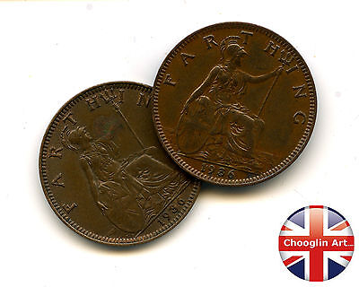 A pair of 1936 British Bronze GEORGE V FARTHING Coins