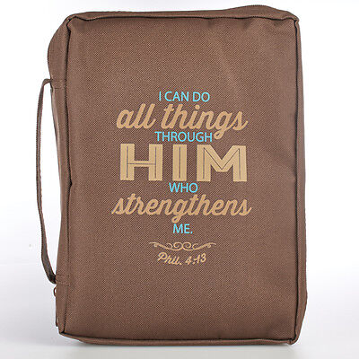 I Can Do All Things Through Him Who Strengthens Me Phil. 4:13 Brown Bible Cover