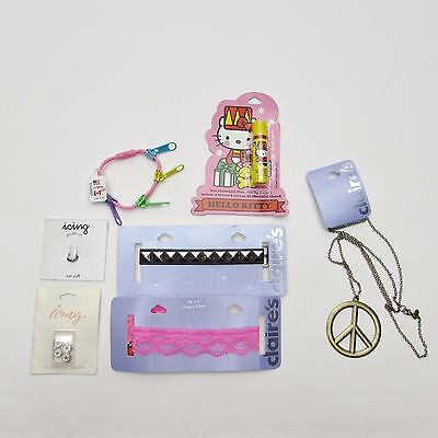 Claire's Girl Jewelry Accessory Lot of 7- Lace & Pyramid Choker, Icing, Necklace