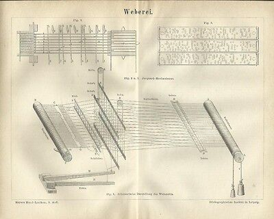 1878 WEBEREI Original Alter Druck Antique Print Lithographie Webstuhl