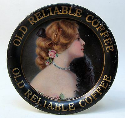 1907 OLD RELIABLE COFFEE #15 advertising tin litho tip tray