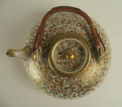 Japanese Satsuma Teapot Signed Kinkozan Thousand Bytterfly Decoration