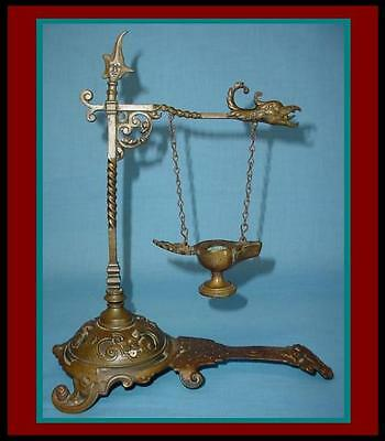Unique ANTIQUE Bronze ROMAN Grand Tour Oil Lamp w/ GRIFFIN HEAD Stand Lamp Post