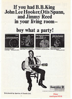 1967 B.B. King, John Lee Hooker, Otis Spann & Jimmy Reed Albums Print Advert.
