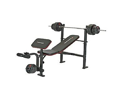 Maximuscle Multi Home Gym Weight Bench + 35KG Weights Package Dumbells, Bar, Leg