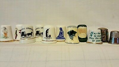 Collection of (11) Sewing Thimbles - Bone China,Salem Witch Museum,Amish,Abalone