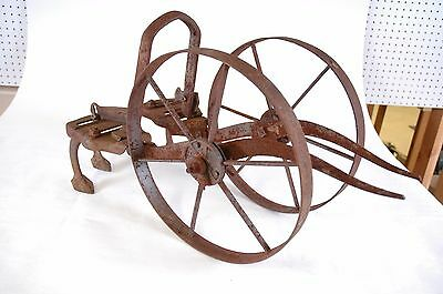 Antique Planet Jr. Garden Tool Cultivator Dual wheel Hoe w/ leaf lifters/bracket