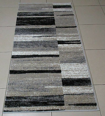 New Grey/black Modern Heatset Hallway Runner Floor Rug 80X150Cm