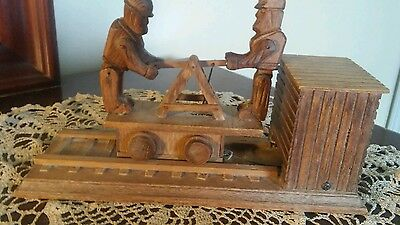 Antique Wood Carved Pump Car Motion Plays I've Been Working on the Railroad Toy