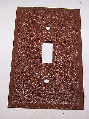 Vintage BROWN Painted Textured Aluminum Toggle Switch Plate Cover