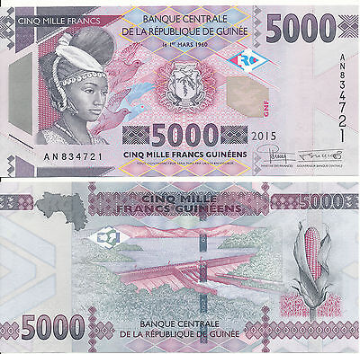 Guinea - 5000 Francs 2015 UNC - Pick New