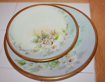 """WG Limoges France Antique Plate with Hand Painted Flowers 8.5"""" & 6.5"""" - matching"""