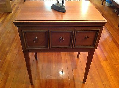 Sears & Roebuck and Co. VINTAGE WOOD SEWING CABINET/table with hinge for machine