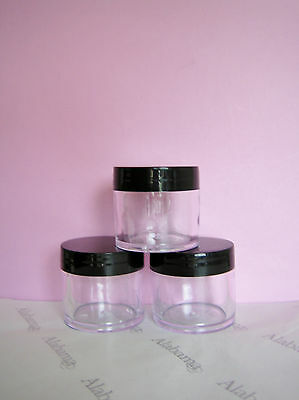 Bulk 10 Clear Plastic Cosmetic Jars 40ml Black Lids Aromatherapy NEW FREE POST