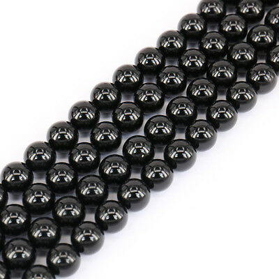Lots 1 Bunch Black Agate Stone Round Loose Spacer Beads Making DIY Beads 4-12mm
