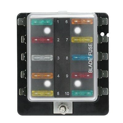10 Way Circuit ATO ATC Blade Fuse Box Block Holder For Car Van Boat Marine H00A