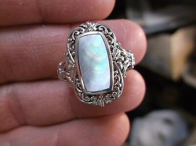 Pretty Ladies Sterling Silver & Darker Gray/pink Mop Mother Of Pearl Ring, Vgc