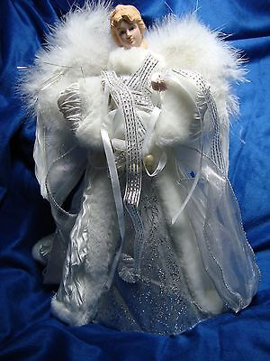 "Gorgeous Holiday Christmas Angel 12"" Tree Topper NEW"