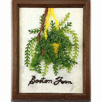 Boston Fern Crewel Embroidery Framed 8 x 6 Inch Completed Handworked m257