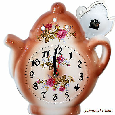 Wall clock for the kitchen - Ceramic - Teapot in country house style Rose