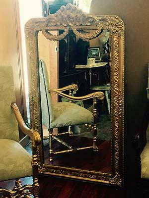 LARGE ANTIQUE FRENCH LOUIS GOLD FLOOR / MANTLE BEVELLED MIRROR..157X90 cm