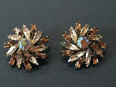 A Pair Of Signed Sherman Earrings With Dual Tone Rhinestones