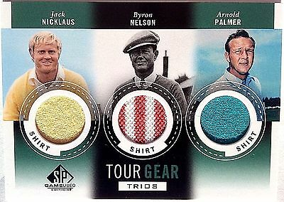 2014 SP Game Used JACK NICKLAUS ARNOLD PALMER NELSON Tourney Worn 3X SHIRT Relic
