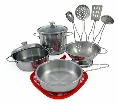 Pretend and Play Children Kitchen Set Toys for Kids Durable Metal Pots and Pans