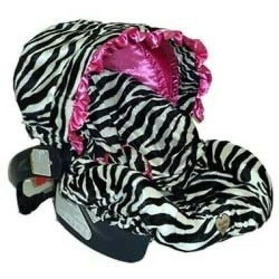 Infant Car Seat Cover - Colour: Zoe Zebra Pink with Ruffle. Free Shipping