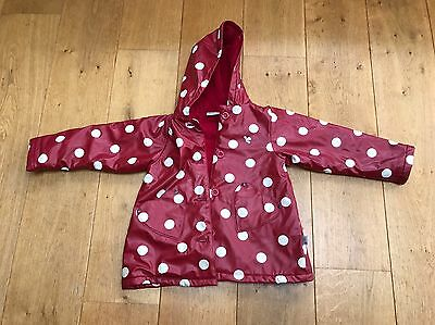 Muddy Puddles Spotty Raincoat Fleece Lined 3-4yrs Red And White