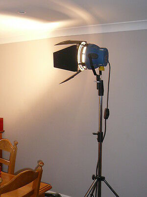 Arri 2K light & Manfrotto heavy duty tall stand on wheels with an adjustable leg