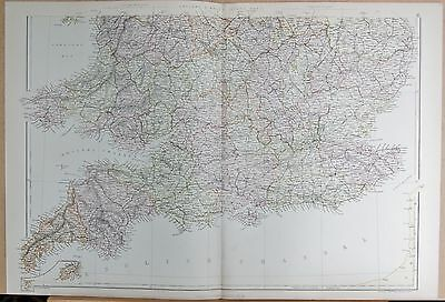 1882 Large Antique Map - England And Wales South