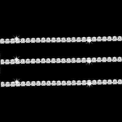 1M Diamante Chain Trim Rhinestone Crystal Silver Cake Toppers Decorations - SS6
