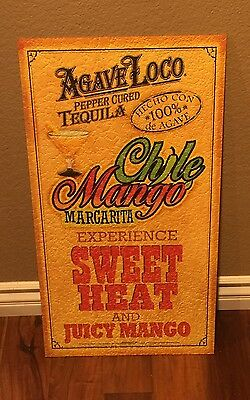 Agave Loco  Peppers Tequila  Home Bar ///.    Man Cave  Wood Sign           New