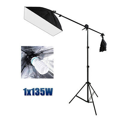 Photo Studio Softbox Continuous Bulb Lighting Soft Box Boom Arm Tripod Stand Kit