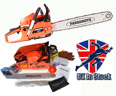 """62cc Petrol Chainsaw with 2 Bars and 12""""+20"""" Alloy Saw Chain Assisted Easy Start"""
