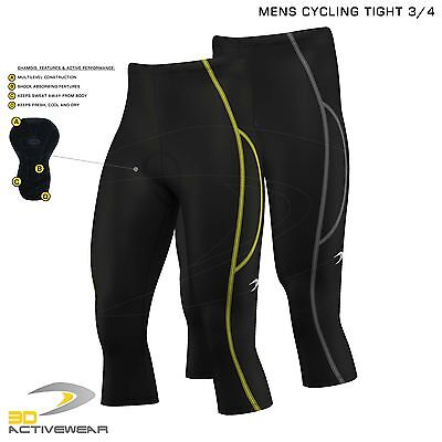 Mens Cycling 3/4 Three Quarter Shorts Pants Bicycle Tights Padded Bike Legging