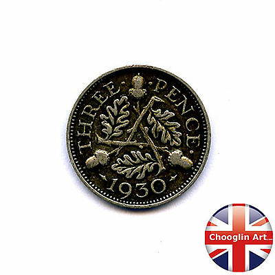 A 1930 British GEORGE V THREEPENCE Coin (Silver .500 Fine)