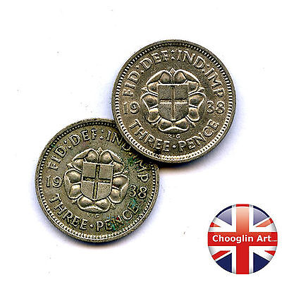 A pair of 1938 British GEORGE VI THREEPENCE Coins (Silver .500 Fine)