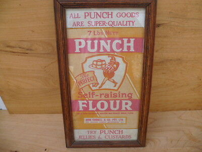 Vintage Old Rare Melbourne Australia Punch Flour Advertising Display, (B590)