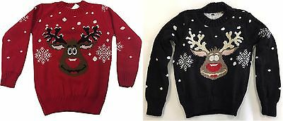 Kids Unisex Snowflake Novelty REINDEER Christmas Jumper Sweater Boys Girls UK