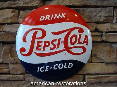 """Pepsi Cola Ice Cold Button 14"""" Metal Embossed Vintage Diner Style Decor Soda"""