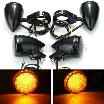 4x Motorcycle 41mm Turn Signal Indicator Light For Harley Bobber Chopper black