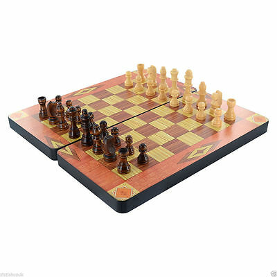 Wooden 3 In 1 Vintage Chess Games Set Checkers Backgammon Board Box Uk